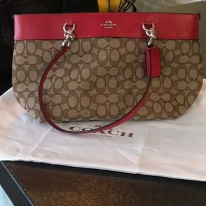 Coach Red and Brown Handbag